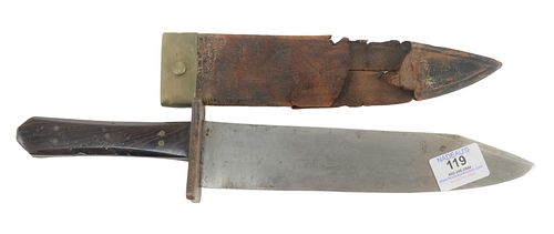 B. Richardson Philadelphia Clip Point Bowie Knife having wood handle with leather and brass sheath, blade marked B. Richardson, Philadelphia and Sons,
