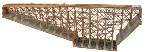 Railroad Trestle Bridge Model for a train, height 11 3/8 inches, width 4 1/2 inches, length 36 inches.