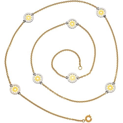 """NECKLACE IN 18K YELLOW GOLD AND STEEL, BVLGARI, TONDO COLLECTION Weight: 35.7 g. Length: 36.6"""" (93.2 cm)"""