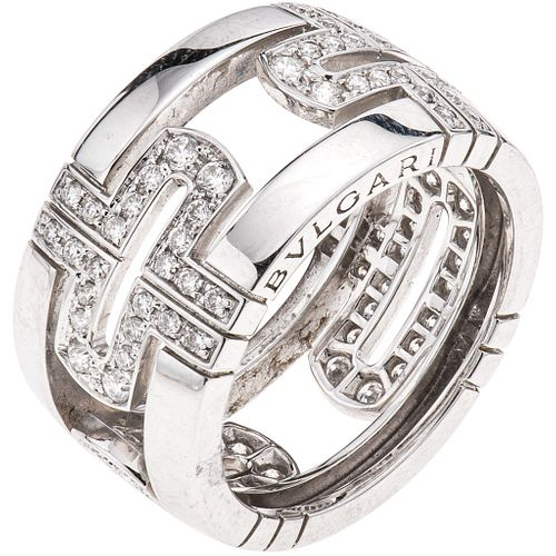 RING WITH DIAMONDS IN 18K WHITE GOLD, BVLGARI, PARENTESI COLLECTION with 96 brilliant cut diamonds~1.0 ct. Size: 6 ¼