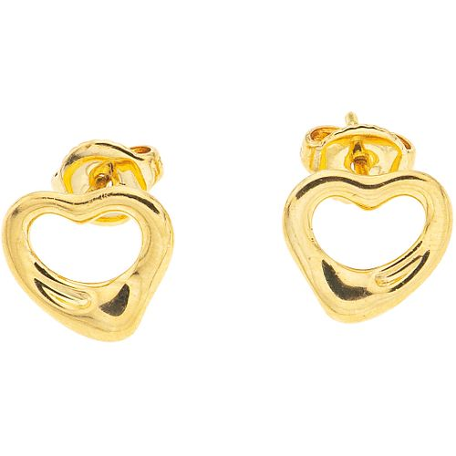 PAIR OF STUD EARRINGS IN 18K YELLOW GOLD, TIFFANY & CO., ELSA PERETTI OPEN HEART COLLECTION Weight: 2.8 g.