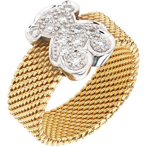 RING WITH DIAMONDS IN 18K YELLOW GOLD, TOUS, ICON MESH COLLECTION with 13 brilliant cut diamonds ~0.20 ct Size: 6
