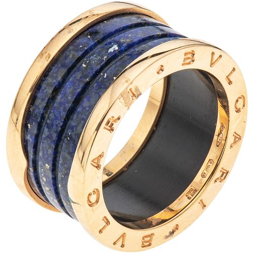 RING WITH MARBLE IN 18K PINK GOLD, BVLGARI, B.ZERO1 COLLECTION with blue marble application Weight: 8.5 g. Size: 7 ¾