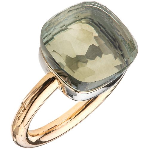 RING WITH PRASIOLITE IN 18K PINK GOLD, POMELLATO, NUDO COLLECTION cushion cut prasiolite. Weight: 9.3 g. Size: 5 ¼