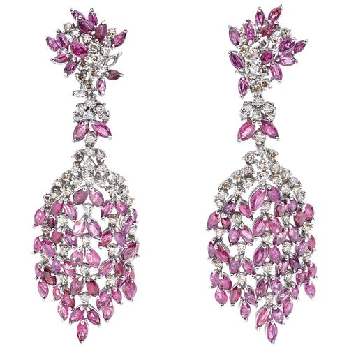 PAIR OF EARRINGS WITH RUBIES AND DIAMONDS IN PALLADIUM SILVER with 114 marquise cut rubies ~11.0 ct and 102 8x8 cut diamonds ~3.0 ct