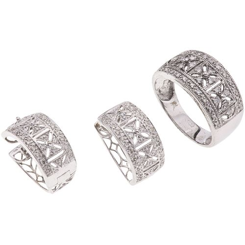 SET OF RING AND PAIR OF EARRINGS WITH DIAMONDS IN 14K WHITE GOLD with 88 8x8 and brillante cut diamonds ~0.59 ct
