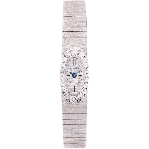 PIAGET LADY WATCH WITH DIAMONDS IN 18K WHITE GOLD REF. 1308 A  Movement: manual. Weight: 35.3 g