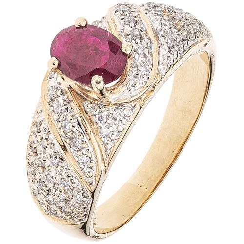 RING WITH RUBY AND DIAMONDS IN 14K YELLOW GOLD 1 oval cut ruby ~0.80 ct and 47 brilliant cut diamonds ~0.32 ct. Size: 7 ¾