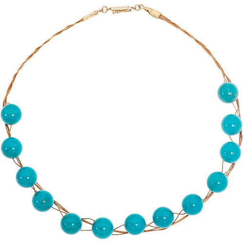 "14K ROSE AND YELLOW GOLD TURQUOISE CHOKER with 13 turquoise beads. Weight: 35.8 g. Length: 15.7"" (40.0 cm)"