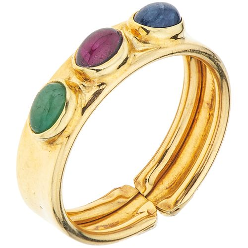 RING WITH SAPPHIRE, RUBY AND EMERALD IN 14K YELLOW GOLD 1 sapphire ~0.15 ct, 1 ruby ~0.15 ct, 1 emerald ~0.15 ct