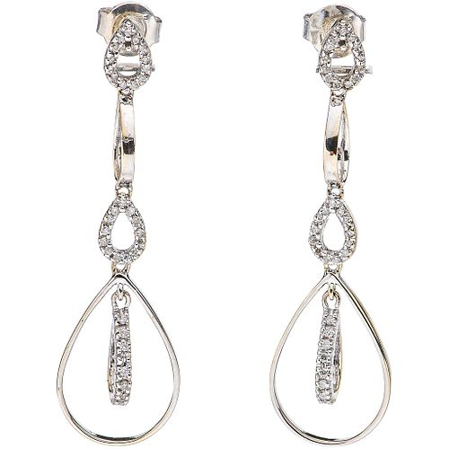 PAIR OF EARRINGS WITH DIAMONDS IN 14K WHITE GOLD with 68 brilliant and 8x8 cut diamonds ~0.15 ct. Weight: 3.4 g