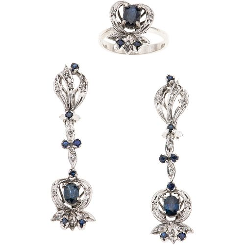 SET OF RING AND PAIR OF EARRINGS WITH SAPPHIRES AND DIAMONDS IN PALLADIUM SILVER with 19 sapphires, different cuts and 27 8x8 cut diamonds