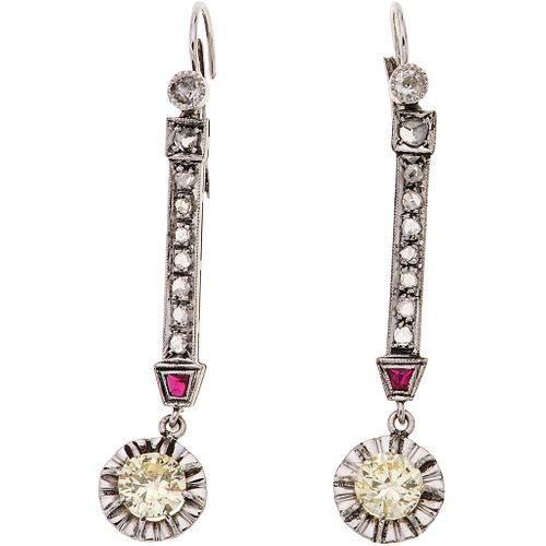 PAIR OF EARRINGS WITH DIAMONDS AND RUBIES IN 14K AND 8K WHITE GOLD with 2 antique cut diamonds ~0.80 ct, 18 diamonds and 2 rubies