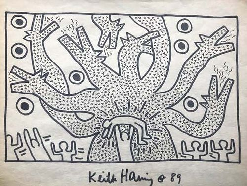 Keith Haring  Figures Dog/Cactus Tree,  Marker Signed & 89