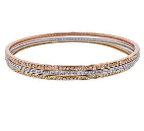 18K Tri Color Gold Diamond Bangle Bracelet Set