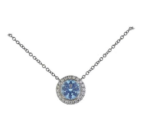 Tiffany & Co Platinum Diamond Aquamarine Pendant Necklace