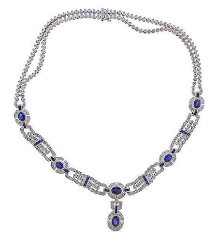 18K Gold Diamond Sapphire Pendant Necklace