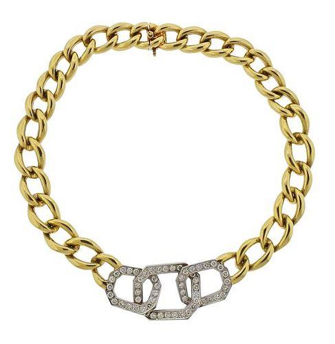 18K Gold Diamond Large Link Necklace