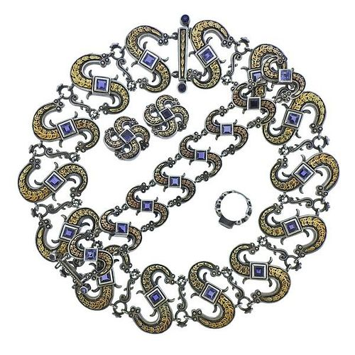 Mitchell Peck Silver 18k Gold Iolite Necklace Bracelet Earrings Brooch Suite