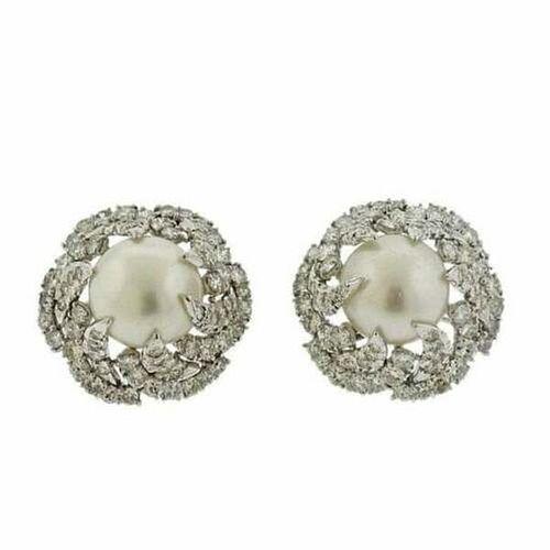 South Sea Pearl 7.00ctw Diamond Platinum Earrings