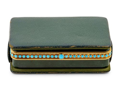 A Tiffany & Co. Carved Nephrite, Yellow-Gold and Turquoise Mounted Snuff Box
