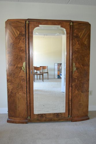 Art Deco Burlwood Continental Armoire