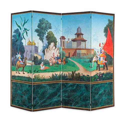 A French Scenic Wallpaper Four-Panel Screen