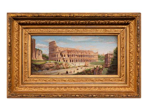 An Italian Micromosaic of the Colosseum in a Giltwood Frame