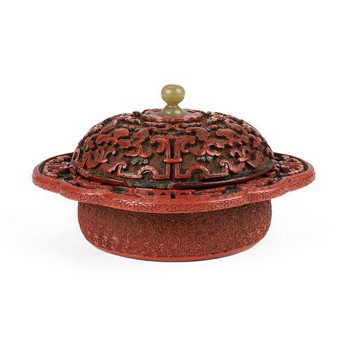 Chinese Ming Cinnabar / Green Lacquer Zhadou