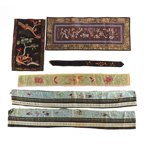 Grp: 6 Chinese Embroidered Silk Textiles