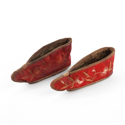 Pair of Chinese Silk Embroidered Slippers