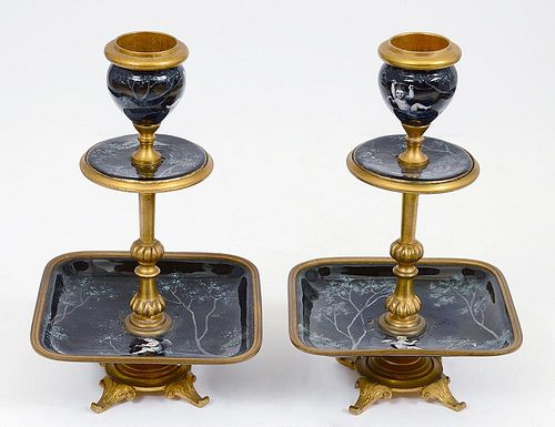 PAIR OF LIMOGES ENAMEL AND BRASS CANDLESTICKS