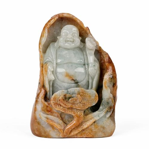 Modern Chinese Carved Jade Buddha w/ Ruyi Scepter