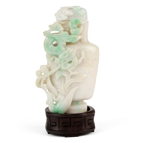 Modern Chinese Carved Jade Dragon Vase