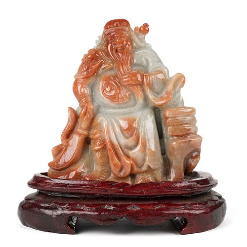 Modern Chinese Carved Jade Figure General w/ Stand