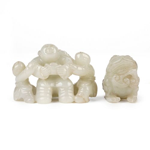 Grp: 2 20th c. Chinese Jade Carvings - Frog & Family