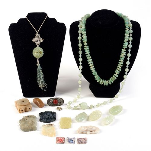 Lrg Grp: Chinese Carved Jade Jewelry & Stamps