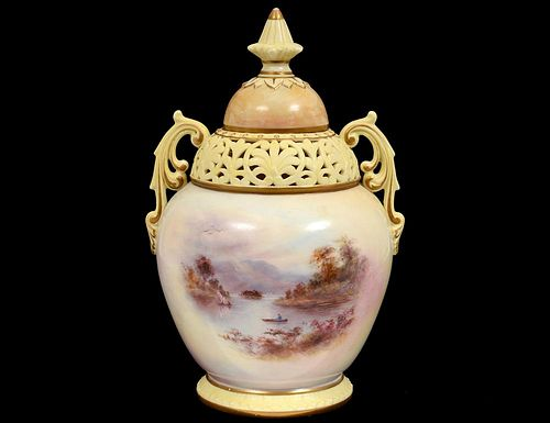 LOCKE WORCESTER PORCELAIN VASE AND COVER
