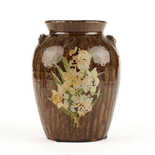 Antique Southern Stoneware Pottery Alkaline Glazed Jar