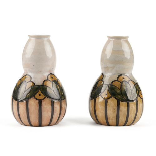 Pair of Royal Doulton Arts & Crafts Newcomb Style Pottery Vases