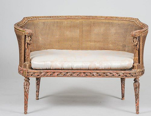 CHARLES X STYLE CARVED AND GILTWOOD SETTEE