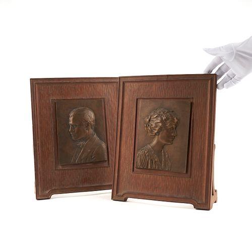Pair of Hunt Studio Bronze Portrait Plaques 1918