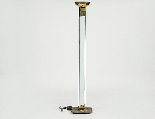 MODERN GLASS, BRASS AND METAL FLOOR LAMP