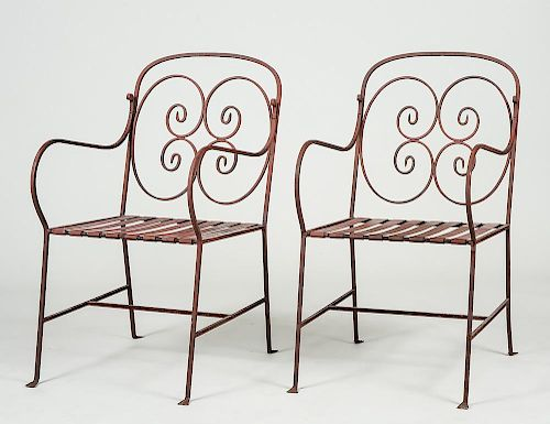 PAIR OF IRON GARDEN ARM CHAIRS