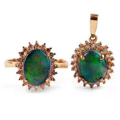 Black Opal & Diamond Ring & Pendant