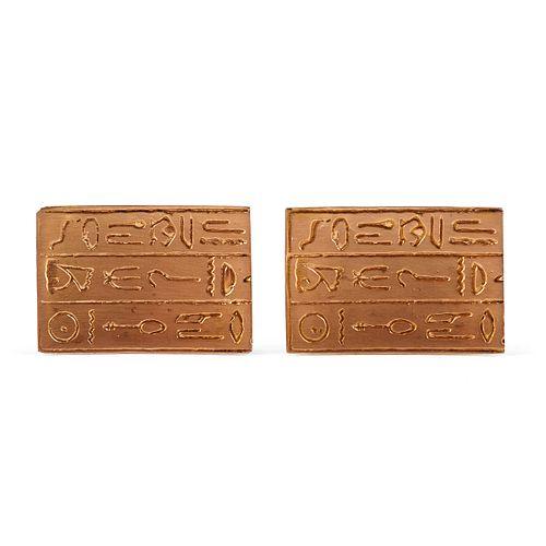 18K Gold Hieroglyphic Cufflinks