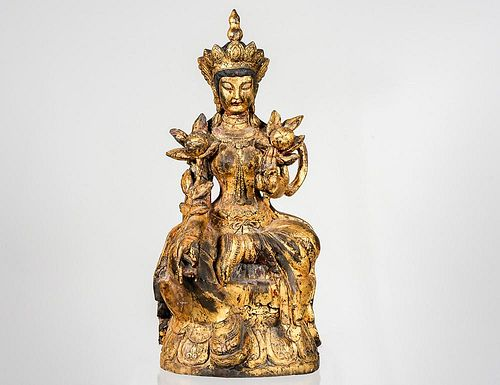 CARVED AND GILTWOOD FIGURE OF BODHISATTVA