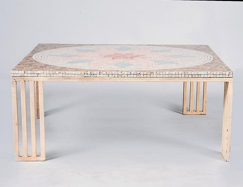 MID-CENTURY PAINTED METAL AND FAUX MOSAIC LOW TABLE