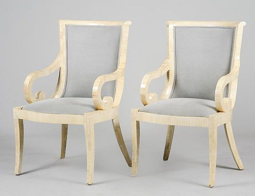 SET OF FOUR BONE TILED NEO-CLASSICAL STYLE ARM CHAIRS