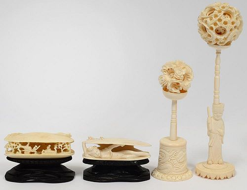 GROUP OF FOUR IVORY CARVINGS